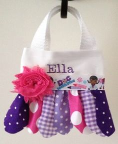 Doc McStuffins Scrappy Fabric Tutu Purse  Great for little girls to carry and make a fashion statement, flower girl gift, flower girl purse, birthday gift, big sister gift, or to use as party favor bags.  Names can be embroidered on them as well for an additional $5  www.facebook.com/gigglesandwigglestutus