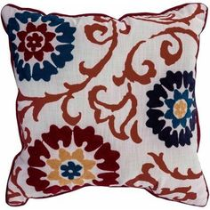 Better Homes and Gardens Floral Medallion Decorative Pillow, Red