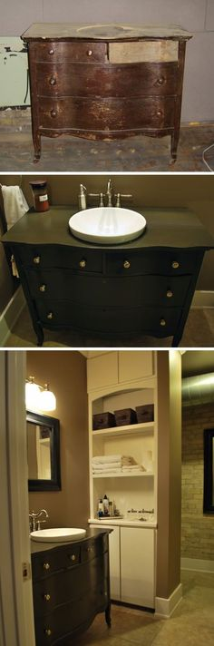 Traditionally Modern Designs: Dresser into Vanity and Attic Remodel