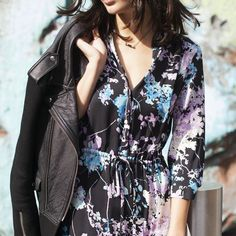 Layer a cool leather jacket over the DVF Freya silk shirt dress for a cool downtown look #SEDUCTIONxDVF
