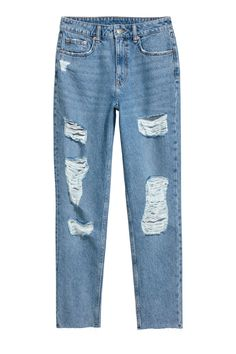 H&M Slim Mom Jeans Trashed - Light denim blue - Women Crop Top Outfits, Cute Casual Outfits, Girl Outfits, Vintage Mom Jeans, Mom Jeans H&m, Boyfriend Jeans, Women's Jeans, Light Denim, Jeans Und Vans