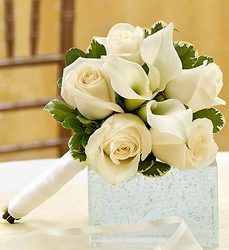 white roses and calla lily bouquet. Bridesmaids?