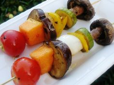 This grilled veggie shish kabobs recipe from Food.com is the perfect blend of vegetables served on a stick.