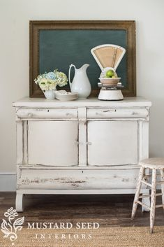 Vintage French Soul ~ Farmhouse White Buffet - Miss Mustard Seed Country Furniture, Farmhouse Furniture, Repurposed Furniture, Shabby Chic Furniture, Vintage Furniture, Cool Furniture, Farmhouse Decor, Farmhouse Table, Furniture Design