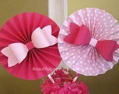 2 6 Lavender Bows Rosettes Centerpieces Paper Fans