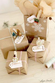 DIY packaging para los regalos de navidad con pinzas de tender la ropa