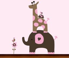 Baby Girl Pink and Brown Jungle Animals  Vinyl by WhimsyWallArt, $79.00