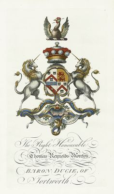 Segar Heraldic Crests Baronagium Geneaologicum 1764 - Mathew Ducie Horeton, Baron Moreton and Tortworth Medieval, Lion Photography, Postcard Paper, Asian History, British History, Family Crest, Crests, Vintage Labels, Paper Background