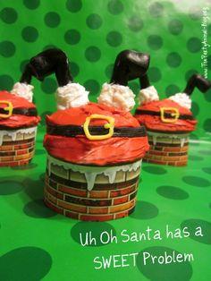 "How to Make Santa ""Oops"" Cupcakes using Roundabouts Cupcake Sleeves | ThePartyAnimal-Blog"