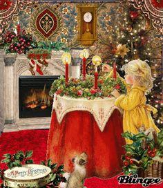 MOVING Twinkling Christmas Scene - Twinkling  Christmas Scene Gif -