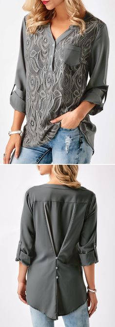 Lace Panel Split Neck Roll Tab Sleeve Blouse