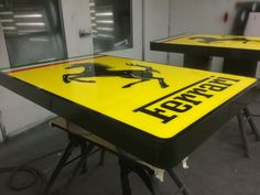 Ferrari Signs produced at the Benga Designs workshop, ready for installation at the New Ferrari Brisbane Showroom. #Ferrari #Bengadesigns