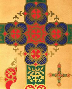 Illustration: A. W. N. Pugin. Cross pattern layout for a frontal of vestment, 1844.
