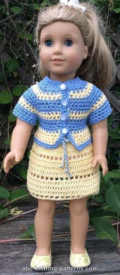 ABC Knitting Patterns – American Girl Doll Elizabeth Summer Skirt and Jacket - American Girl Dolls Crochet Doll Dress, Crochet Doll Clothes, American Doll Clothes, Ag Doll Clothes, Nice Clothes, Dress Clothes, Baby Born Kleidung, Crochet Jacket Pattern, Pattern Skirt