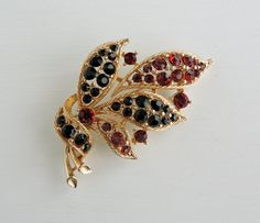 Vintage Signed Lisner Brooch: Red and Black Rhinestone Pin, Gold Tone Flower Brooch, Lisner Jewelry, 50s Mid Century Estate Costume Jewelry by ninthstreetvintage on Etsy