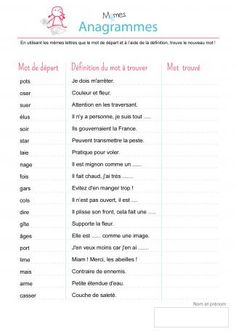 exercice anagramme à imprimer