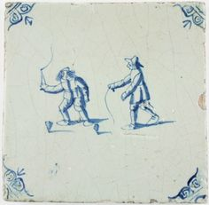 Antique Delft tile with two children playing with spinning tops, 17th century