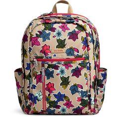 Vera Bradley Lighten Up Grand Backpack ($108) ❤ liked on Polyvore featuring bags, backpacks, falling flowers neutral, pocket backpack, lightweight laptop backpack, day pack backpack, lightweight daypack and padded backpack
