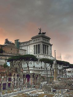 The Roman Forum with a side view of the Vittorio Emmanuele Monument Rome, Italy