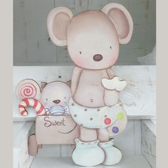Siluetas madera infantil efecto pintado a mano - RATON SWEET Cute Images, Cute Pictures, Baby Painting, Cute Mouse, Small Cards, Baby Pillows, Cold Porcelain, Baby Prints, Colour Images