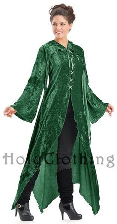 I could be Zelda! Gwendolyn Enchanted Flowing Velvet Lace-Up Hooded Maxi Jacket | Holy Clothing