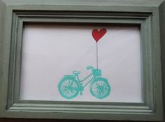 Bicycle and heart balloon - bike art - teal / blue hand stamped - wall decor - whimsical - love - romance - valentines day - FREE SHIPPING. $7.00, via Etsy.