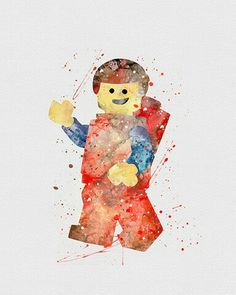 Watercolor - Lego Man