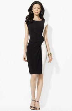 Lauren Ralph Lauren Colorblocked Jersey Sheath Dress available at #Nordstrom // Lovely, size 2 is the smallest