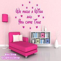 WE MADE A WISH WALL ART QUOTE STICKER - DISNEY BEDROOM KIDS BABY LOVE DECAL | eBay