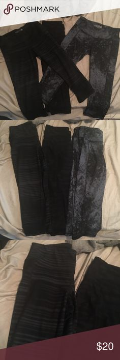 Compression Crop yoga gym pants Old navy, compression go dry active Capri yoga gym leggings / pants. Size medium. All in good condition. Comes as a bundle. You get 3 pairs, all are cropped capris. Dark, black and grey shaded colors. Mid rise fit. Old Navy Pants Leggings