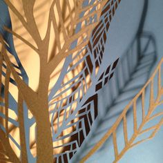 Shadow pattern tree branches paper cut out