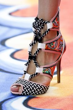 Peter Pilotto ~ Spring Lace-up Sandals Multi 2013