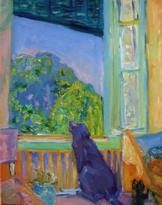 ♥♥♥Pierre Bonnard, Window with Lab, Oil on canvas
