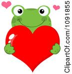 Green Frog Holding A Red Valentine Heart