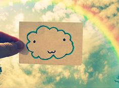 Life is Beautiful. With blue skies, smiley face and rainbow.