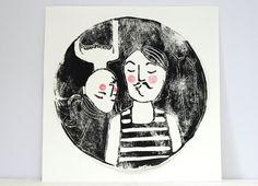 Linoldruck - Zirkus Paar Linoldruck Gewichtheber Trapezkünstler - ein Designerstück von hebbedinge bei DaWanda