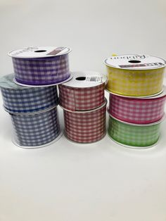 8 rolls of wired, Gingham ribbon. All brand new, full 10 yards each. 2.5 and 1.5 inch widths. This deal is too good to pass up. Grab this today. Wreath Making Supplies, Craft Supplies, Chicken Scratch Embroidery, Wreath Tutorial, Wired Ribbon, How To Make Wreaths, Diy Wreath, All Brands, Yards
