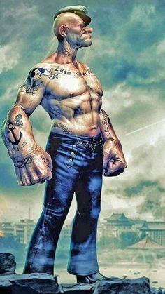 Cartoon Art, Cartoon Characters, Cartoon Drawings, Popeye Tattoo, Popeye And Olive, Popeye The Sailor Man, Hulk Art, Foto Art, Funny Art