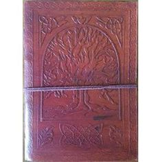 "Tree of Life leather blank book w/cord 5"" x 7"""