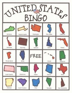 Relentlessly Fun Deceptively Educational United States Bingo Game Play It In The Car On A Trip Or When Learning States And Capitals