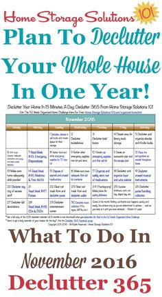 Free printable November 2016 decluttering calendar with daily 15 minute missions. Follow the entire Declutter 365 plan provided by Home Storage Solutions 101 to declutter your whole house in a year.