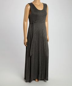 This Charcoal Tie-Waist Maxi Dress - Plus by GLAM is perfect! #zulilyfinds