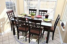 7 pc Espresso Brown 6 Person Table and Chairs Brown Dining Dinette – Espresso Brown and Beige Chair Waffle Back