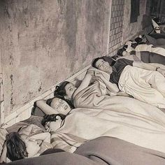 Barcelona,1938 - Sleeping in the subway(Spanish Civil War)by Jean Moral.