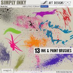 Simply Inky #photoshop Brush Set: #digitalscrapbooking designs #photoshop