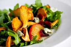 Chanterelle, Bacon and Plum Salad with Blue Cheese.  Or how about with berries and aged cheddar, yum.