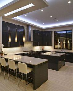 stunning modern dream kitchen design ideas and decor 1 < Home Design Ideas Kitchen Ceiling Design, Pop Ceiling Design, Kitchen Room Design, Home Decor Kitchen, Rustic Kitchen, Interior Design Kitchen, Kitchen Ideas, Cheap Kitchen, Diy Kitchen