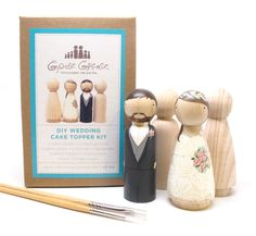 Personalized Wedding Cake Toppers Bride/Groom  Wedding Decor  Kit  DIY Cake Toppers with Extra Couple - Wooden Dolls