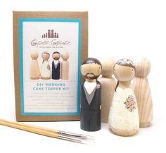 Poupée PEG Wedding Cake Toppers marié/mariée mariage Decor Kit DIY Cake Toppers avec Couple supplémentaire - poupées en bois