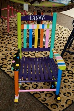 painted chair-- cute idea for a reading chair!